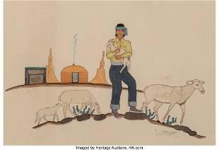 Jimmi Willard Navajo Man with Sheep tempera on