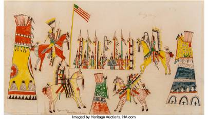 70145: A Southern Cheyenne Ledger Drawing  Howling Wolf