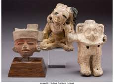 70632 Three PreColumbian Figures  including a Teotihu