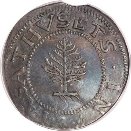 6: 1652<SHILNG Pine Tree Shilling, Large Planchet