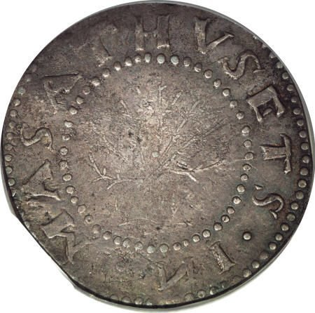 2: 1652 Oak Tree Shilling VF35 PCGS.