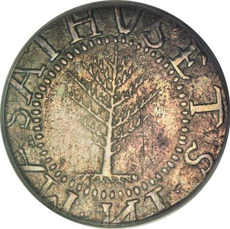 7: 1652<SHILNG Pine Tree Shilling, Large Planchet