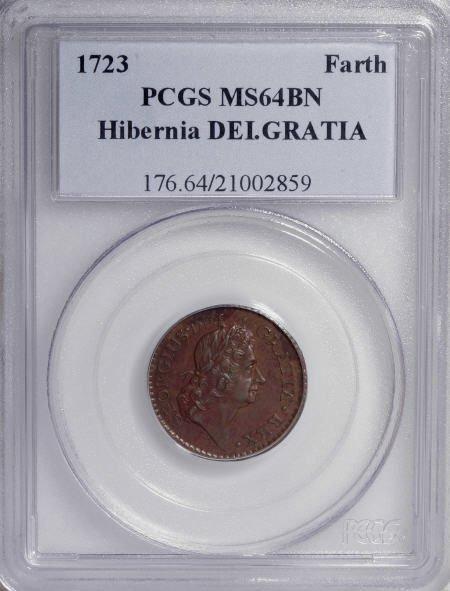 16: 1723 FARTH Hibernia Farthing, DEI GRATIA MS64