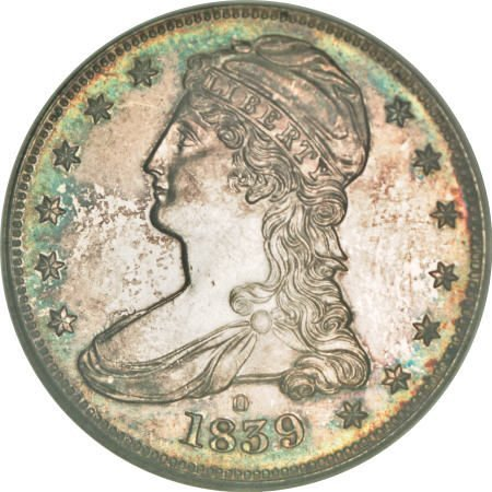 2164: 1839-O 50C Capped Bust, Reeded Edge PR63 NGC.