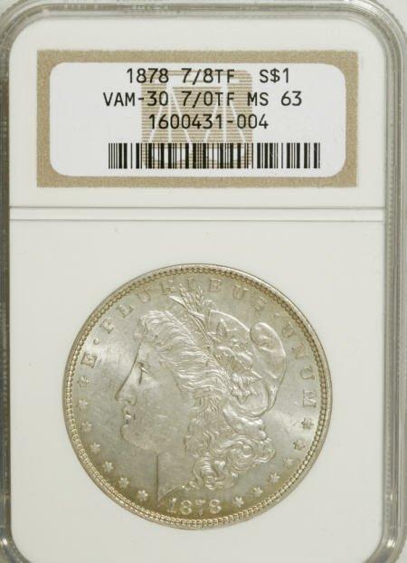 2563: 1878 7/8TF $1 Weak MS63 NGC.
