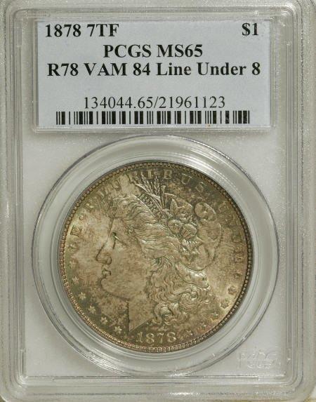 2569: 1878 7TF $1 Reverse of 1878 MS65 PCGS.