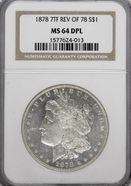 2570: 1878 7TF $1 Reverse of 1878 MS64 Deep Mirror
