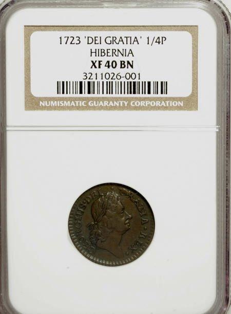 7002: 1723 FARTH Hibernia Farthing, DEI GRATIA XF40 NGC