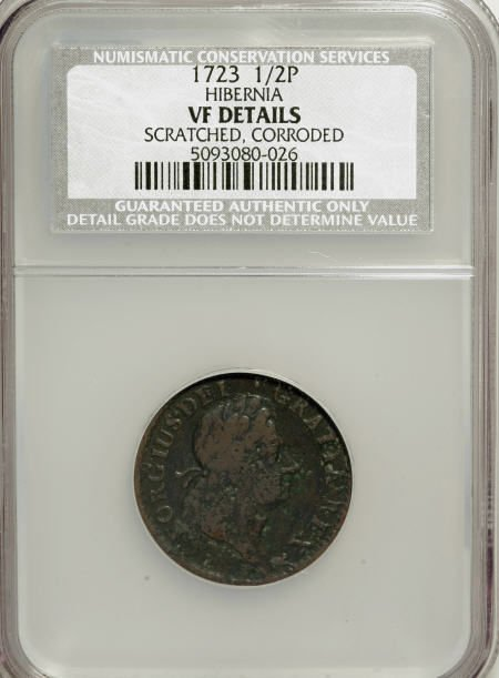 7003: 1723 1/2P Hibernia Halfpenny--Corroded, Scratched