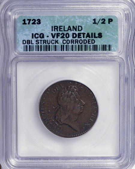 7006: 1723 1/2 P Hibernia Halfpenny, Ireland, Double