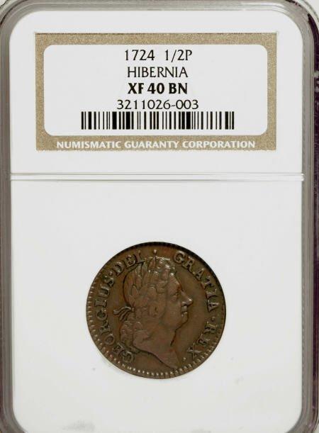 7007: 1724 1/2P Hibernia Halfpenny XF40 NGC. NGC Census