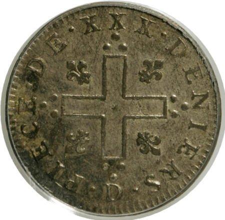 7008: 1711-D 30DEN French Colonies 30 Deniers AU55 PCGS