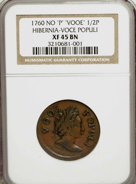 7014: 1760 1/2P Hibernia-Voce Populi Halfpenny No'P'',