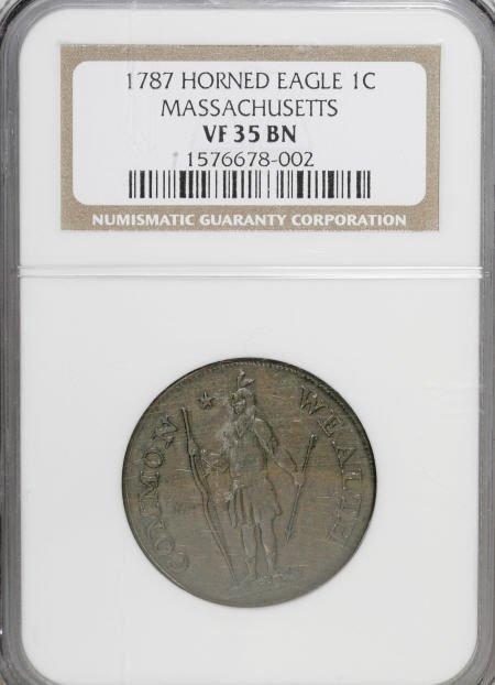 7015: 1787 1C Massachusetts Cent, Horned Eagle VF35 NGC