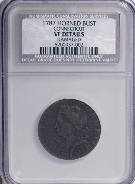 7020: 1787 COPPER Connecticut Copper, Horned Bust--Dama