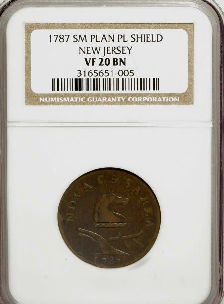7023: 1787 COPPER New Jersey Copper, Small Planchet, Pl