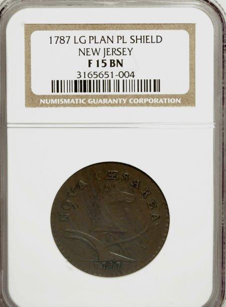 7025: 1787 COPPER New Jersey Copper, Large Planchet, Pl