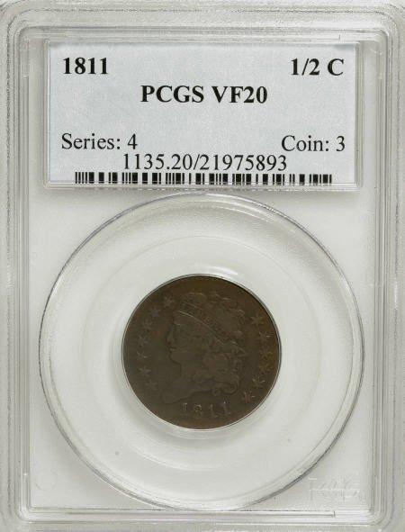 7071: 1811 1/2 C VF20 PCGS. PCGS Population (8/59). NGC
