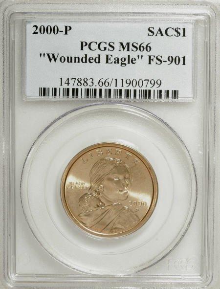 "9650: 2000-P $1 ""Wounded Eagle"" Sacagawea MS66 PCGS."