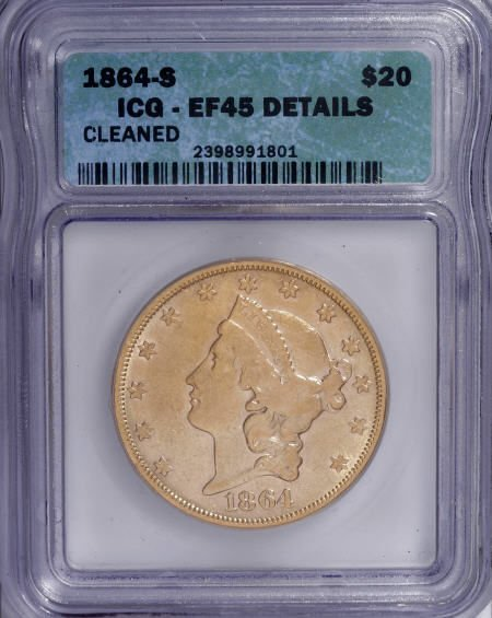 10103: 1864-S $20--Cleaned--ICG. XF45 Details. NGC Cens