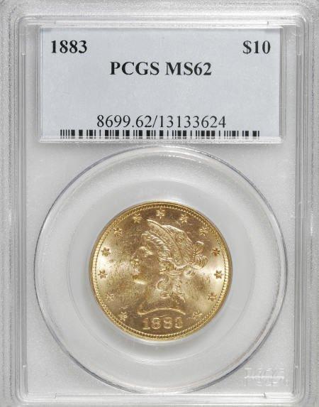 10000: 1883 $10 MS62 PCGS. PCGS Population (241/75). NG