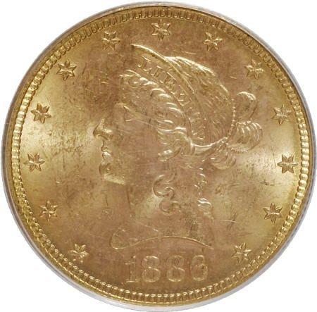 10001: 1886-S $10 MS63 PCGS. PCGS Population (187/9). N