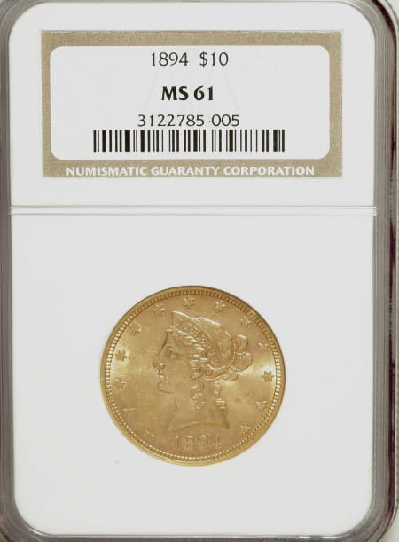 10007: 1894 $10 MS61 NGC. NGC Census: (8672/15086). PCG