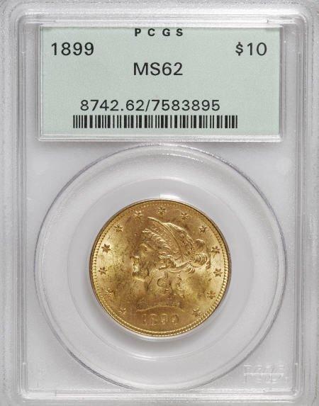 10020: 1899 $10 MS62 PCGS. PCGS Population (3805/1862).