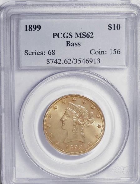 10021: 1899 $10 MS62 PCGS. Ex: Bass. PCGS Population