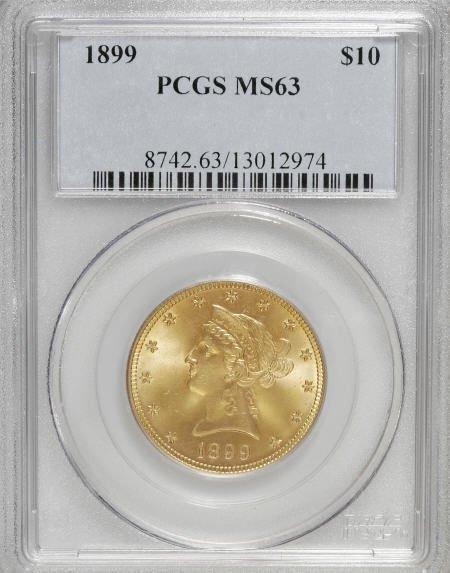 10023: 1899 $10 MS63 PCGS. PCGS Population (1586/276).