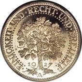 21094: Germany Weimar Republic Oak Tree 5 Marks 1927A,
