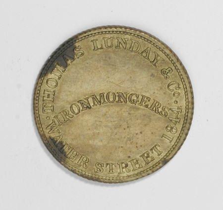21537: Jamaica Thomas Lund Token 1844 pair, Rulau 33.
