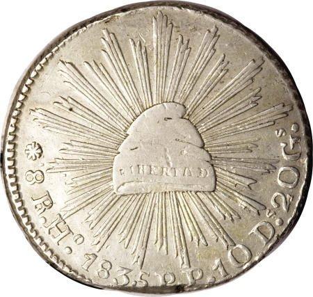 21741: Mexico Republic Cap and Ray 8 Reales 1835-Ho PP,