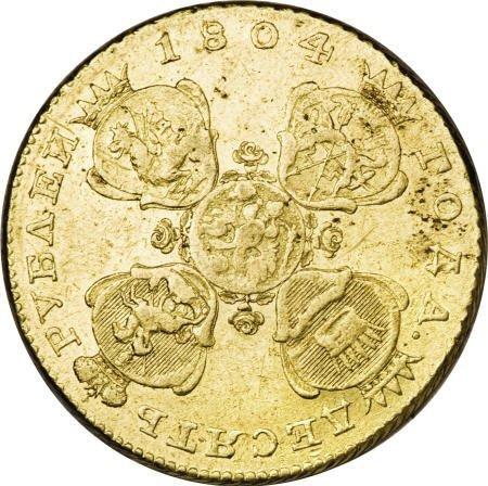 22116: Russia Alexander I gold 10 Roubles 1804 C??-X?,