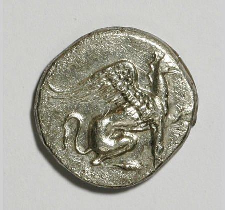 22867: Ancients Ionia, Teos Ca. 375 B.C. AR drachm (15