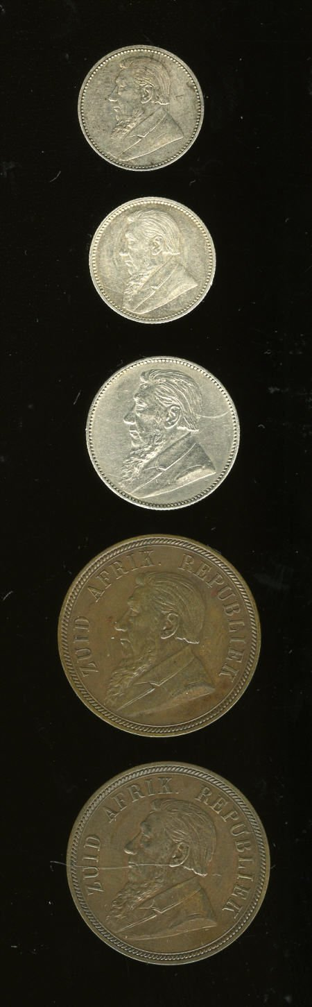 23641: South Africa Z.A.R five-piece lot including: