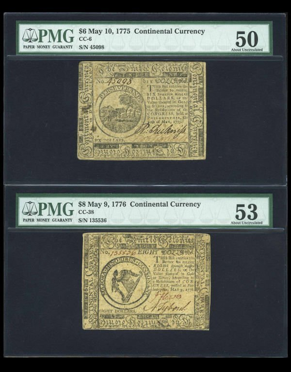 12002: Continental Currency Trio PMG Graded.