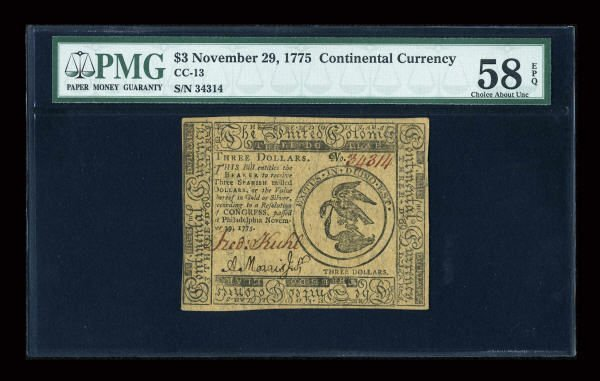 12003: Continental Currency November 29, 1775 $3 PMG