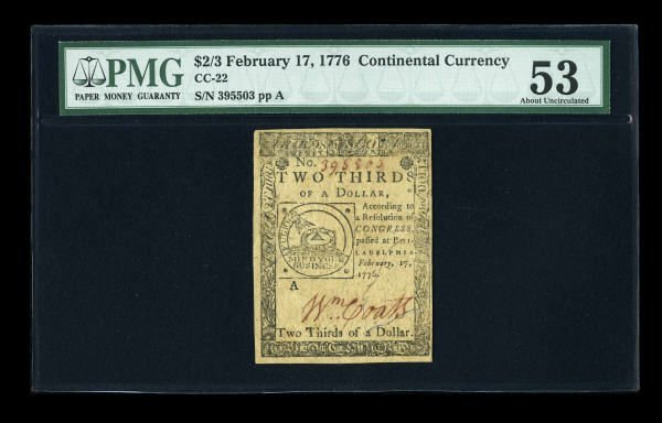 12005: Continental Currency February 17, 1776 $2/3 PMG