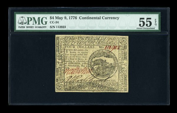 12006: Continental Currency May 9, 1776 $4 PMG About