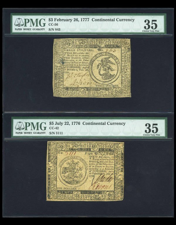 12007: Continental Currency Trio PMG Graded.