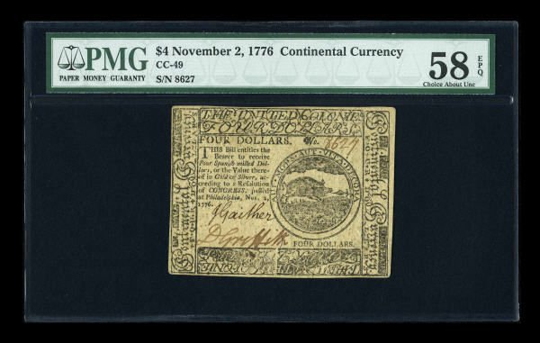 12008: Continental Currency November 2, 1776 $4 PMG