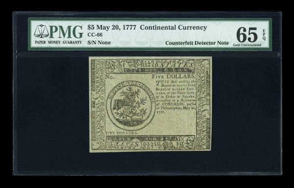 12009: Continental Currency May 20, 1777 $5 PMG Gem
