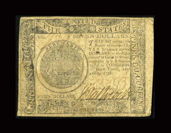 12011: Continental Currency April 11, 1778 $7 Very
