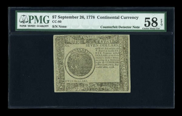 12012: Continental Currency September 26, 1778 $7 PMG