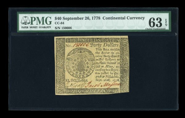 12013: Continental Currency September 26, 1778 $40 PMG
