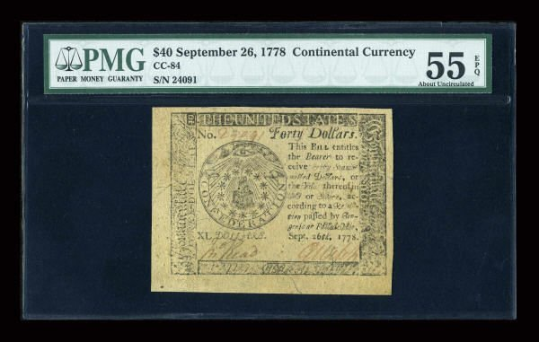 12014: Continental Currency September 26, 1778 $40 PMG