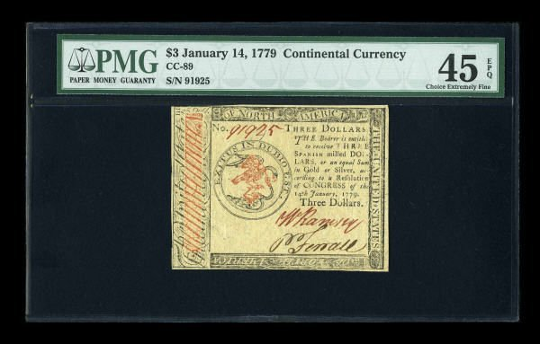 12017: Continental Currency January 14, 1779 $3 PMG