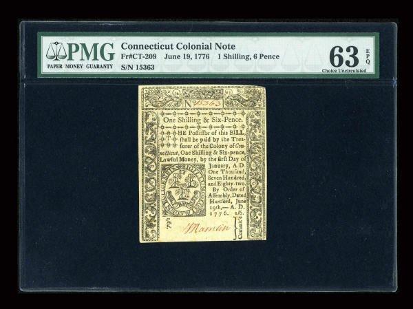12024: Connecticut June 19, 1776 1s/6d PMG Choice