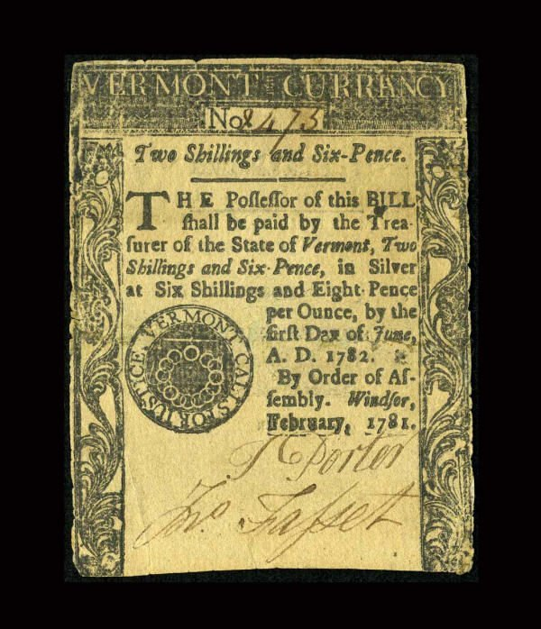 12278: Vermont February 1781 2s/6d Very Fine-Extremely